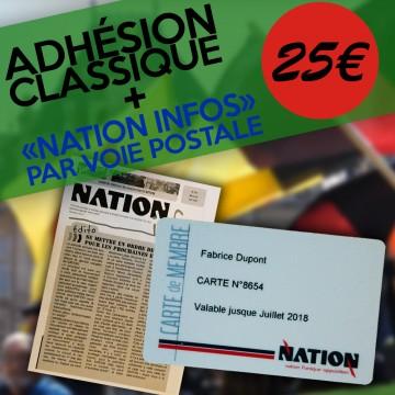 """Adhésion CLASSIQUE + """"NATION Infos"""" par voie postale"""